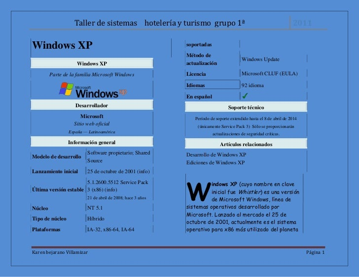 Windows XP<br />Windows XPParte de la familia Microsoft WindowsDesarrolladorMicrosoftSitio web oficialEspaña — Latinoaméri...