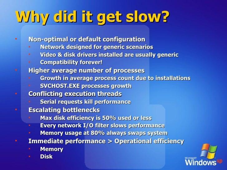 Why did it get slow? <ul><li>Non-optimal or default configuration </li></ul><ul><ul><li>Network designed for generic scena...