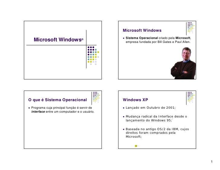 Microsoft Windows                                                     Sistema Operacional criado pela Microsoft,      Mic...