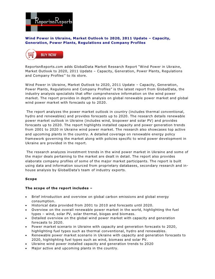 Wind Power in Ukraine, Market Outlook to 2020, 2011 Update – Capacity,Generation, Power Plants, Regulations and Company Pr...