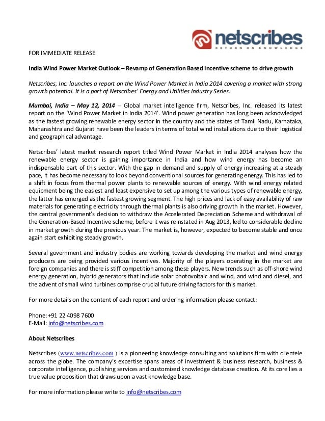 FOR IMMEDIATE RELEASE India Wind Power Market Outlook U2013 Revamp Of  Generation Based Incentive Scheme To