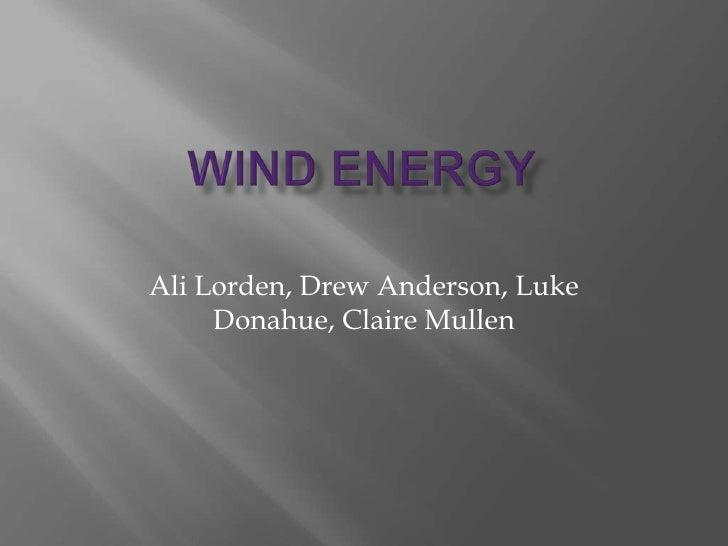 Wind Energy<br />Ali Lorden, Drew Anderson, Luke Donahue, Claire Mullen<br />