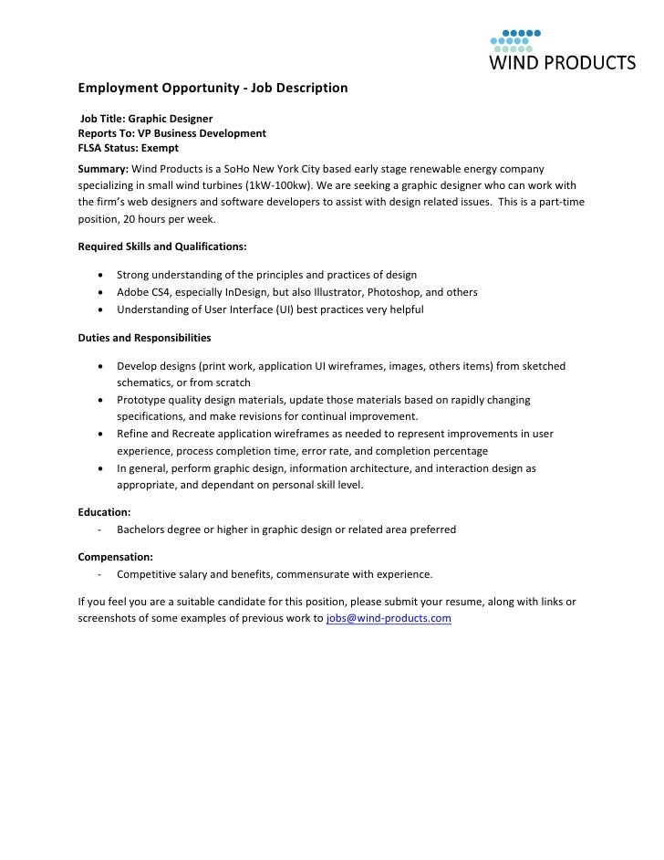 Wind Products Graphic Designer Job Description