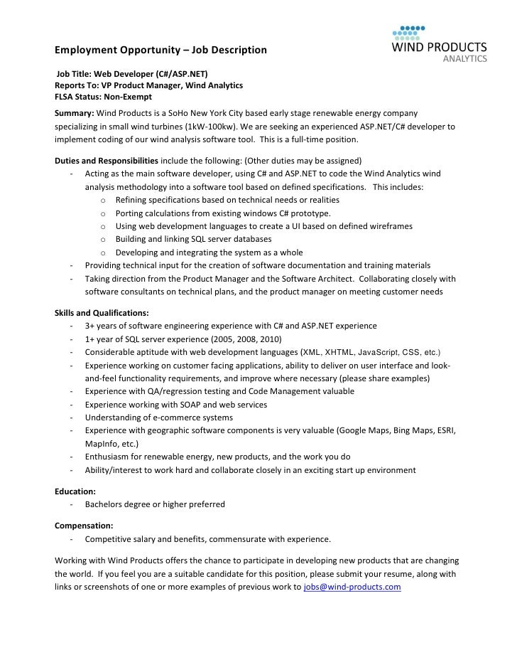 employment opportunity job description job title web developer caspnet - App Developer Job Description
