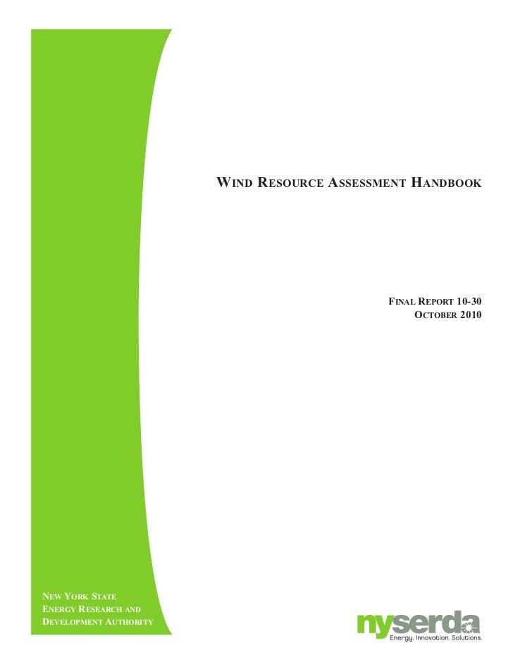 wiNd reSource aSSeSSmeNt haNdbook                                             FiNal report 10-30                          ...