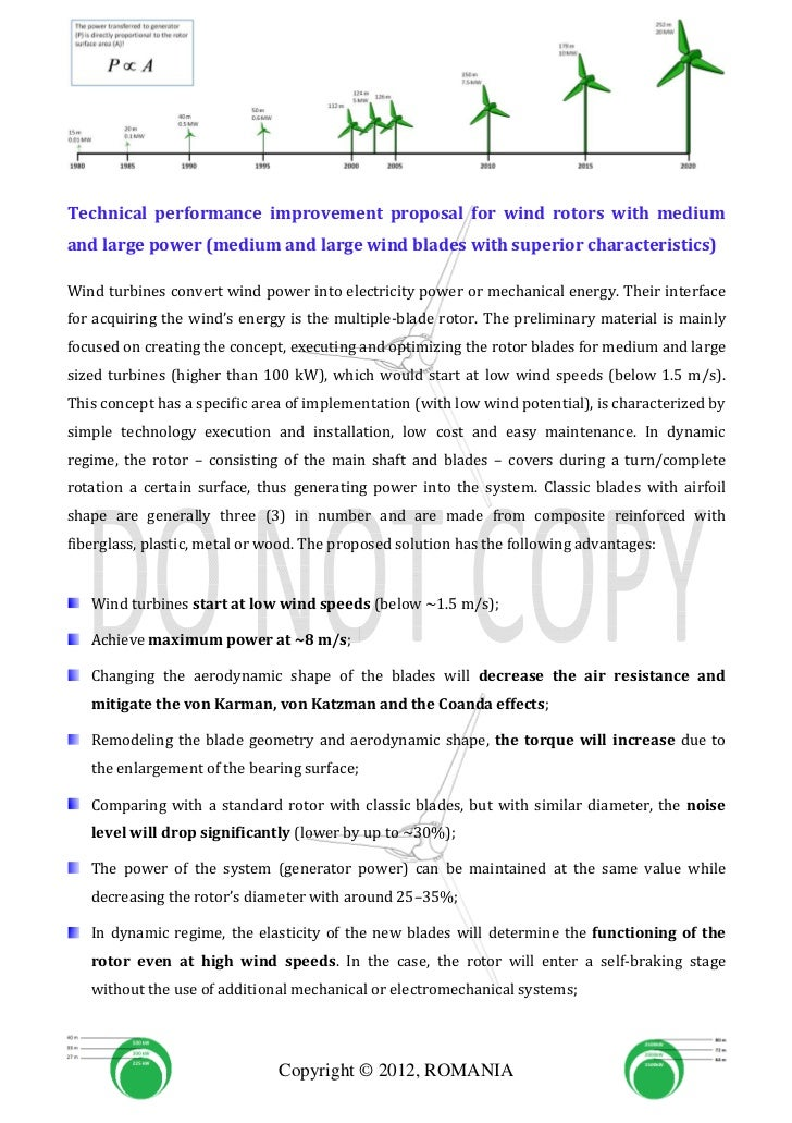 Technical performance improvement proposal for wind rotors with mediumand large power (medium and large wind blades with s...