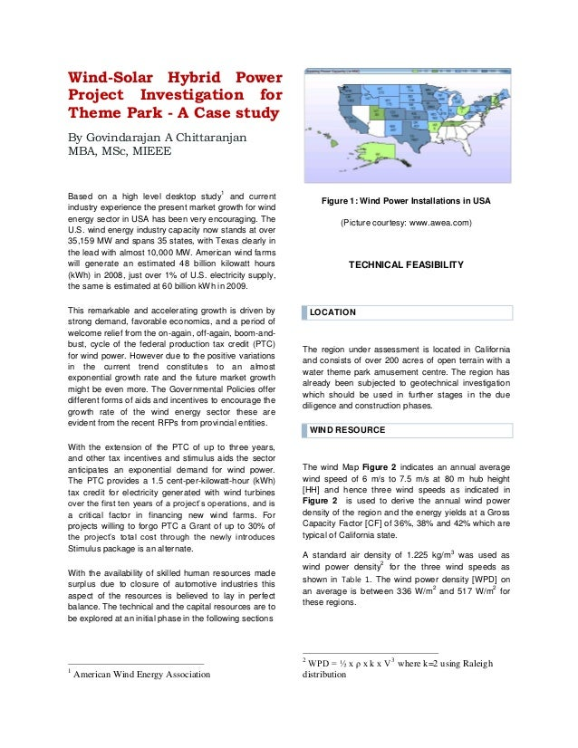 Wind-Solar Hybrid Power Project Investigation for Theme Park - A Case study By Govindarajan A Chittaranjan MBA, MSc, MIEEE...