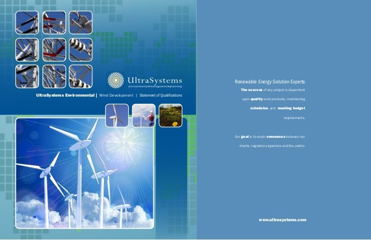 UltraSystems environmental | Wind Development | Statement of QualificationsD –Statement of Qualifications