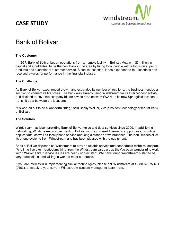 CASE STUDY                                                                                            Bank of BolivarThe C...