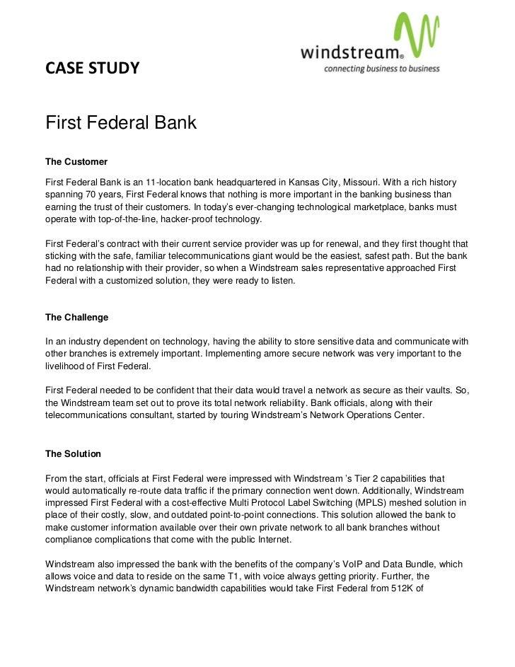 CASESTUDY                                                                                       First Federal BankT...
