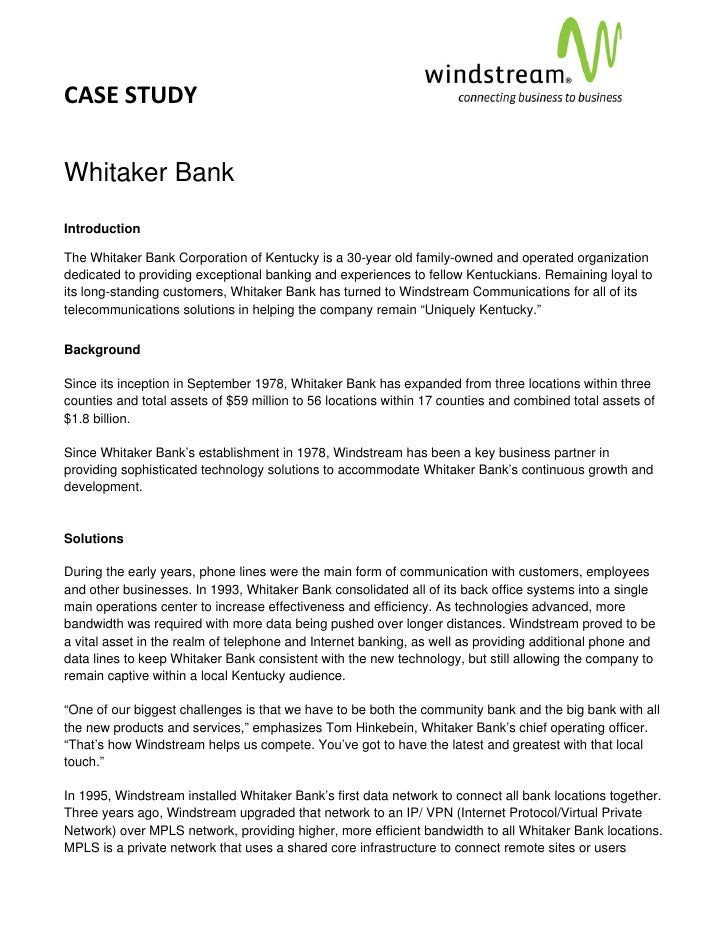 CASE STUDY                                                                                          Whitaker BankIntroduct...