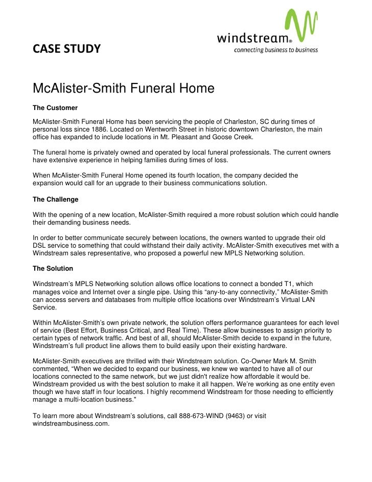 CASE STUDY                                                                                          McAlister-Smith Funera...