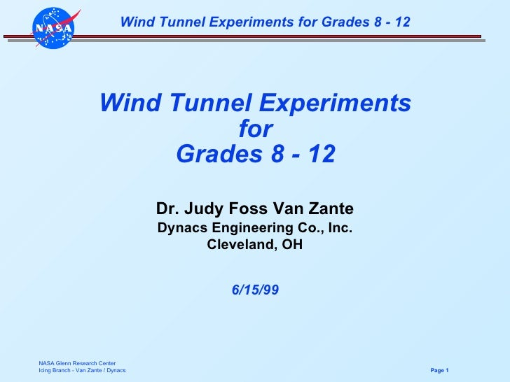 Wind Tunnel Experiments for Grades 8 - 12 Dr. Judy Foss Van Zante Dynacs Engineering Co., Inc. Cleveland, OH 6/15/99