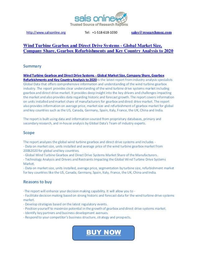 http://www.salisonline.org               Tel: +1-518-618-1030            sales@researchmoz.comWind Turbine Gearbox and Dir...