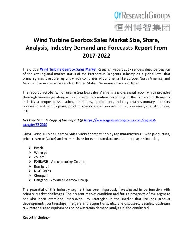 Wind turbine gearbox sales market size, share, analysis