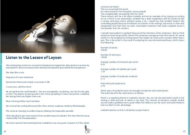 4948 Listen to the Lesson of Leysen I like writing that send me in a mood of metaphorical imagination. May be best is to s...