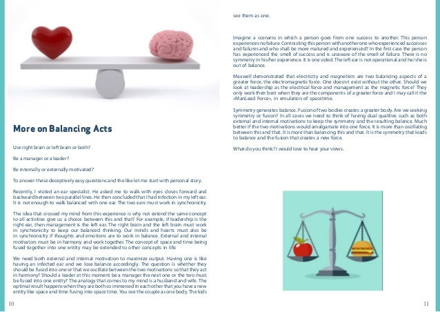 1110 More on Balancing Acts Use right brain or left brain or both? Be a manager or a leader? Be internally or externally m...