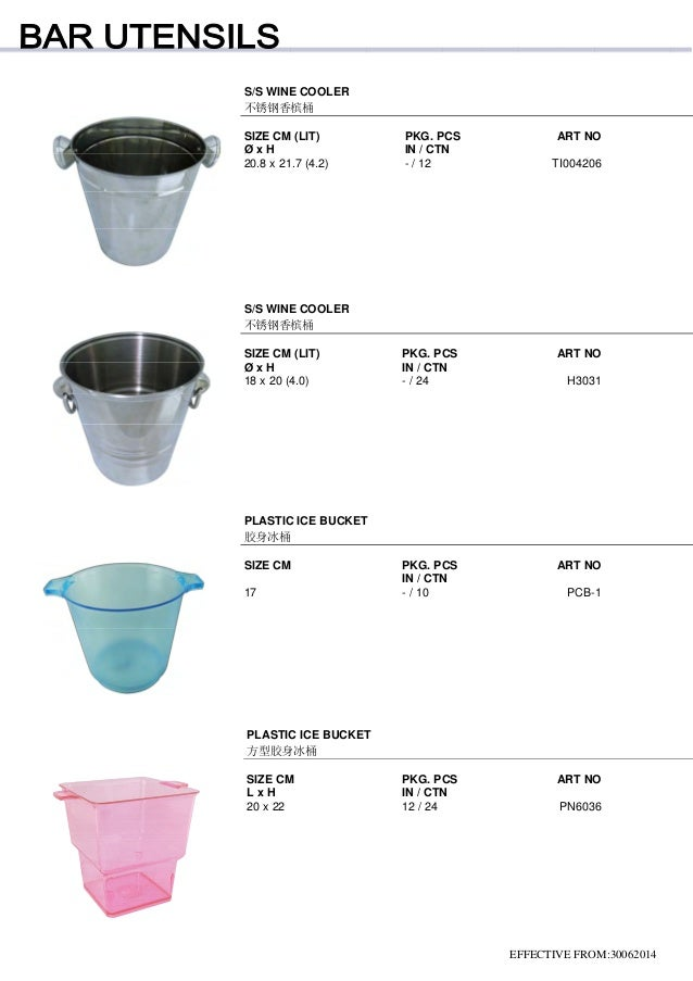 EFFECTIVE FROM:30062014 S/S WINE COOLER 不锈钢香槟桶 SIZE CM (LIT) PKG. PCS ART NO Ø x H IN / CTN 20.8 x 21.7 (4.2) - / 12 TI004...