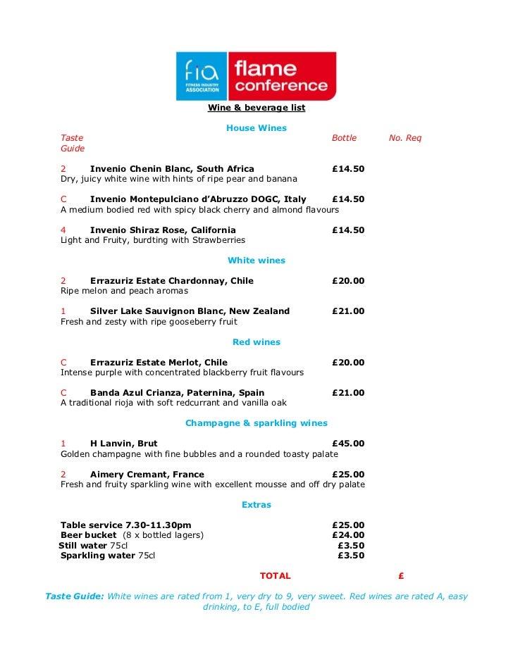 Wine & beverage list                                            House Wines   Taste                                       ...