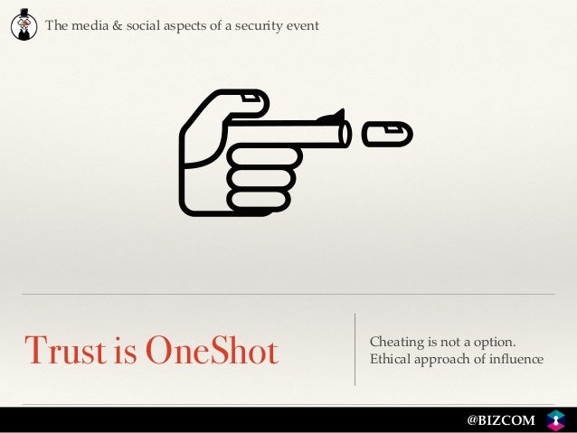The media & social aspects of a security event @BIZCOM Trust is OneShot Cheating is not a option.