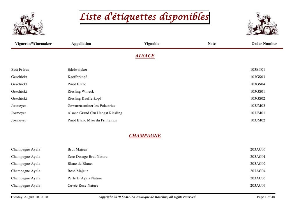 Liste d'étiquettes disponibles    Vigneron/Winemaker         Appellation                                    Vignoble      ...