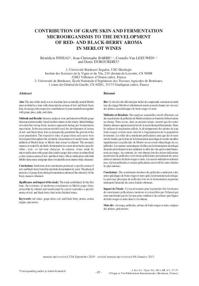 - 27 -J. Int. Sci. Vigne Vin, 2011, 45, n°1, 27-37©Vigne et Vin Publications Internationales (Bordeaux, France)CONTRIBUTIO...