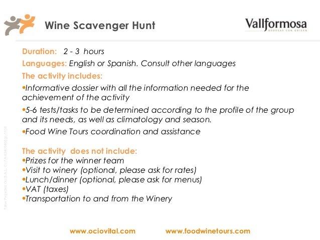 Wine Tour Scavenger Hunt