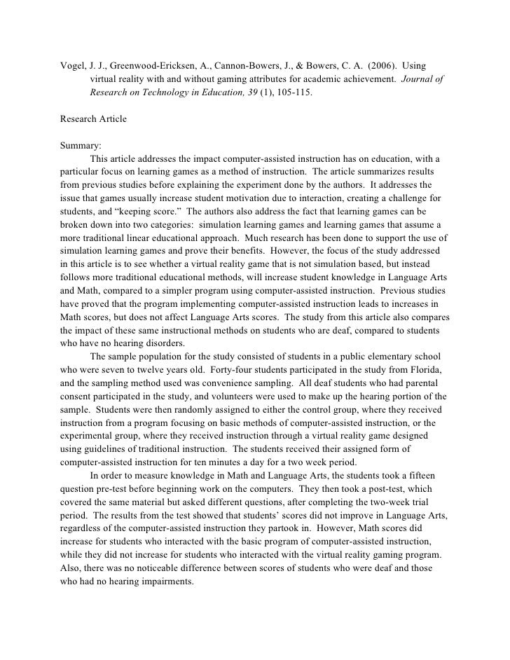 article summary sample By erica sweeney, ehow contributor updated: july 28, 2010 i want to do this what's this a journal article review is a common assignment in college and graduate school.