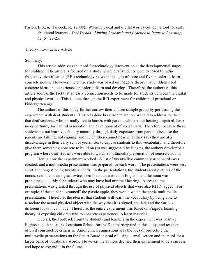 Psychology article summary essay