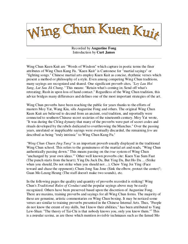 "Recorded by Augustine Fong Introduction by Curt James Wing Chun Kuen Kuit are ""Words of Wisdom"" which capture in poetic te..."