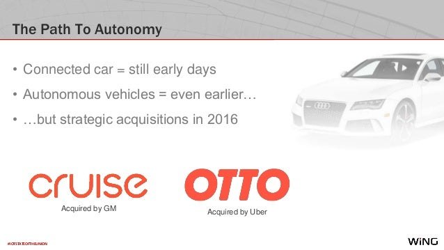 #IOTSTATEOFTHEUNION The Path To Autonomy • Connected car = still early days • Autonomous vehicles = even earlier… • …but s...