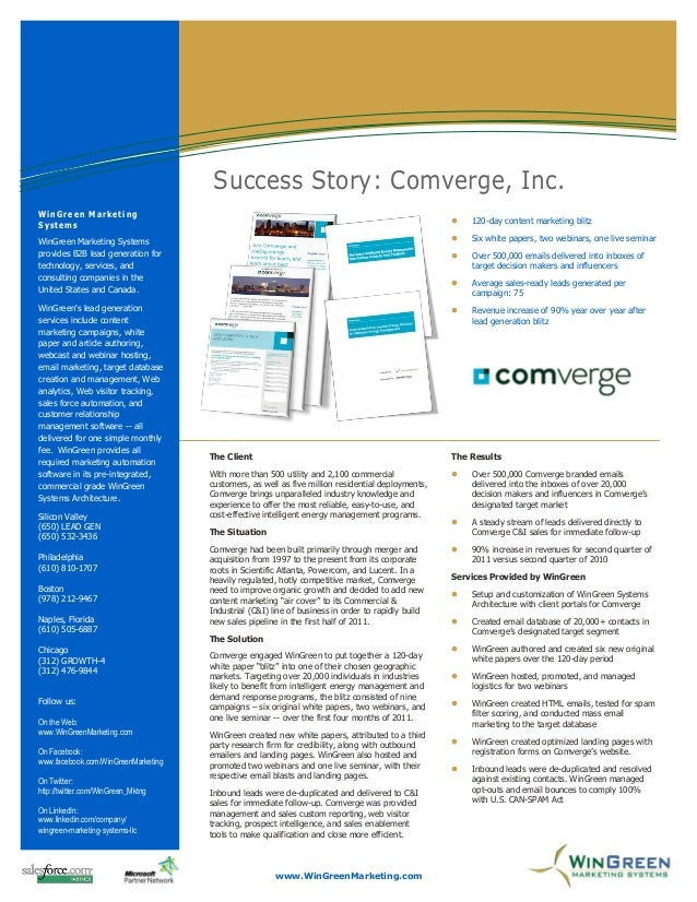 Information Technology Solutions                                      Success Story: Comverge, Inc.WinGreen MarketingSyste...