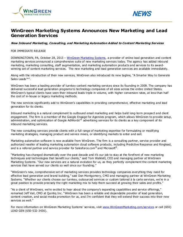 NEWS WinGreen Marketing Systems Announces New Marketing and Lead Generation Services New Inbound Marketing, Consulting, an...