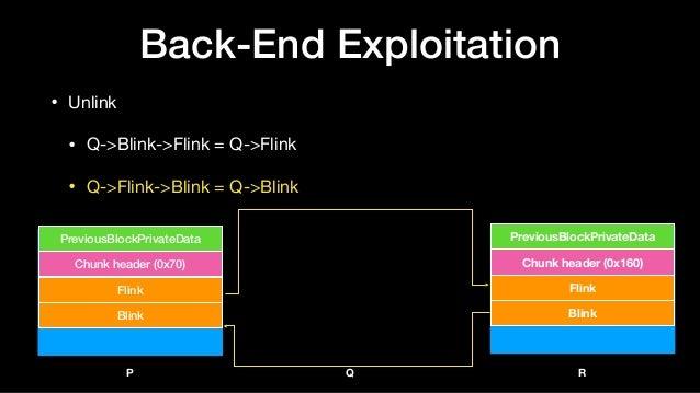 Back-End Exploitation • Unlink  • Q->Blink->Flink = Q->Flink  • Q->Flink->Blink = Q->Blink Flink Blink Chunk header (0x70)...