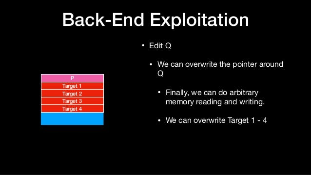 Back-End Exploitation • Edit Q  • We can overwrite the pointer around Q  • Finally, we can do arbitrary memory reading and...