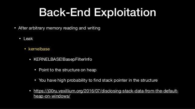 Back-End Exploitation • After arbitrary memory reading and writing  • Leak  • kernelbase  • KERNELBASE!BasepFilterInfo  • ...