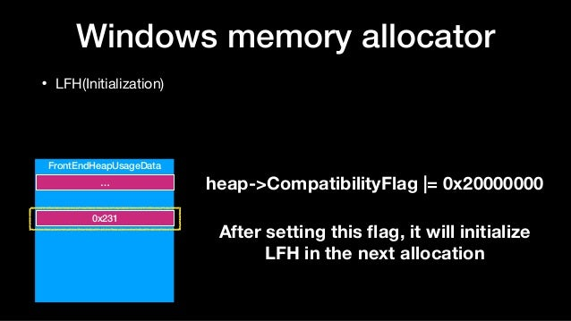 Windows memory allocator • LFH(Initialization) FrontEndHeapUsageData … 0x231 heap->CompatibilityFlag  = 0x20000000 After s...