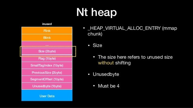 Nt heap • _HEAP_VIRTUAL_ALLOC_ENTRY (mmap chunk)  • Size  • The size here refers to unused size without shifting  • Unused...