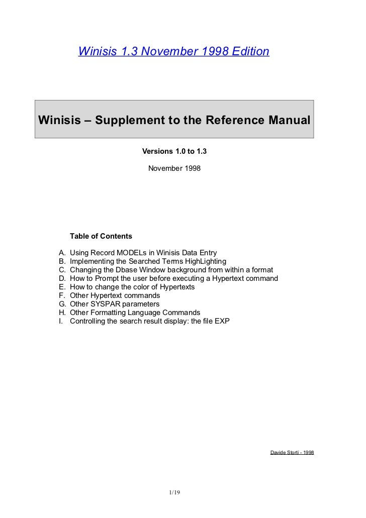 Winisis 1.3 November 1998 EditionWinisis – Supplement to the Reference Manual                            Versions 1.0 to 1...