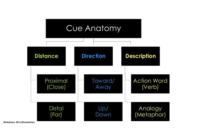 Cue Anatomy Distance Proximal (Close) Distal (Far) Direction Toward/ Away Up/ Down Description Action Word (Verb) Analogy ...