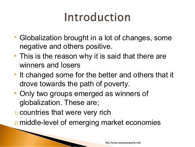 Who Are the Winners and Losers of Globalisation