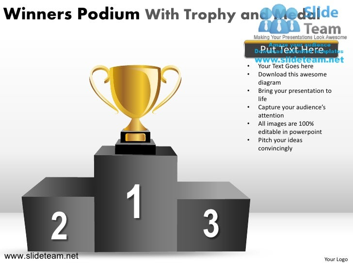 winners podium with trophy and medal powerpoint ppt templates