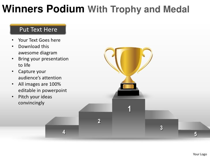winners podium with trophy and medal powerpoint presentation templates, Presentation templates