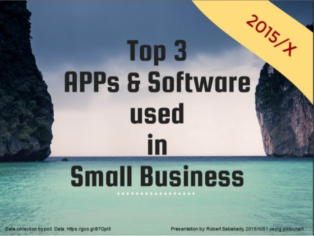 Top 3 flPPs 8 Software used  in        Data collection by poll.  Data:  hI1ps: I/goo. gI/87QpI5 Presentation by.  Robert Sa...