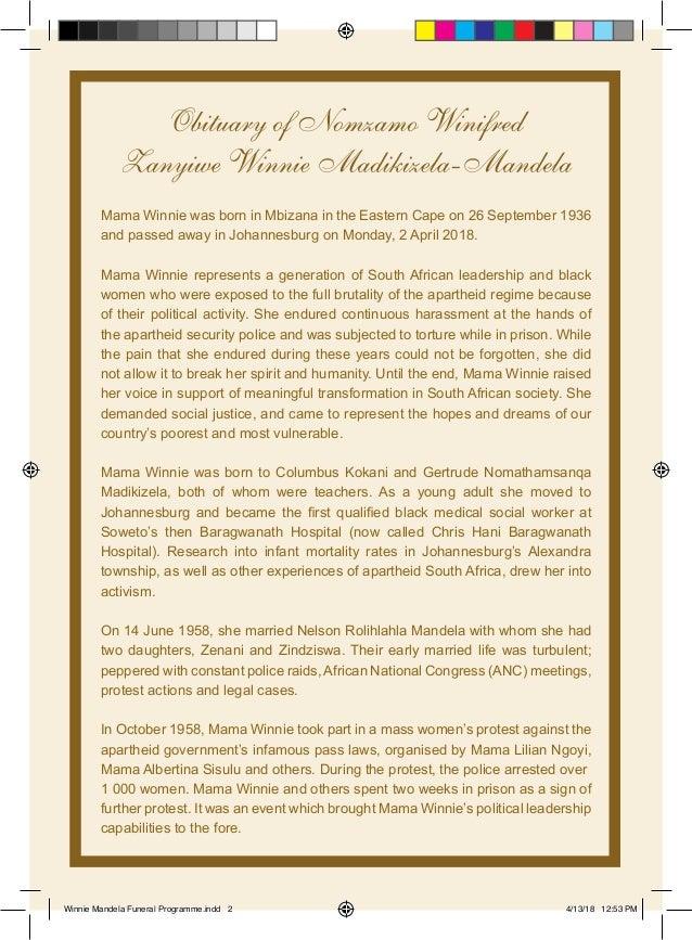 winnie madikizela mandela funeral programme