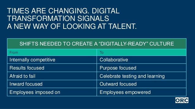 """TIMES ARE CHANGING. DIGITAL TRANSFORMATION SIGNALS A NEW WAY OF LOOKING AT TALENT. SHIFTS NEEDED TO CREATE A """"DIGITALLY-RE..."""