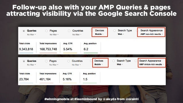 #winningmobile at #learninbound by @aleyda from @orainti Follow-up also with your AMP Queries & pages attracting visibilit...