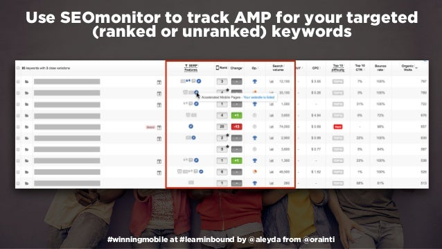 #winningmobile at #learninbound by @aleyda from @orainti Use SEOmonitor to track AMP for your targeted (ranked or unranked...