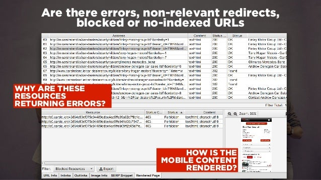 #winningmobile at #learninbound by @aleyda from @orainti Are there errors, non-relevant redirects, blocked or no-indexed U...