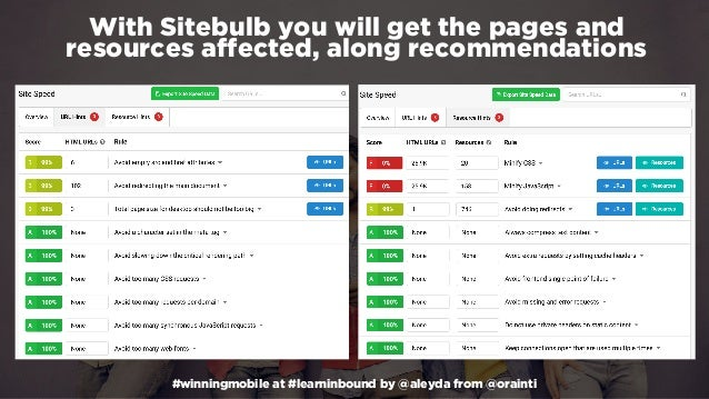 #winningmobile at #learninbound by @aleyda from @orainti With Sitebulb you will get the pages and resources affected, alon...